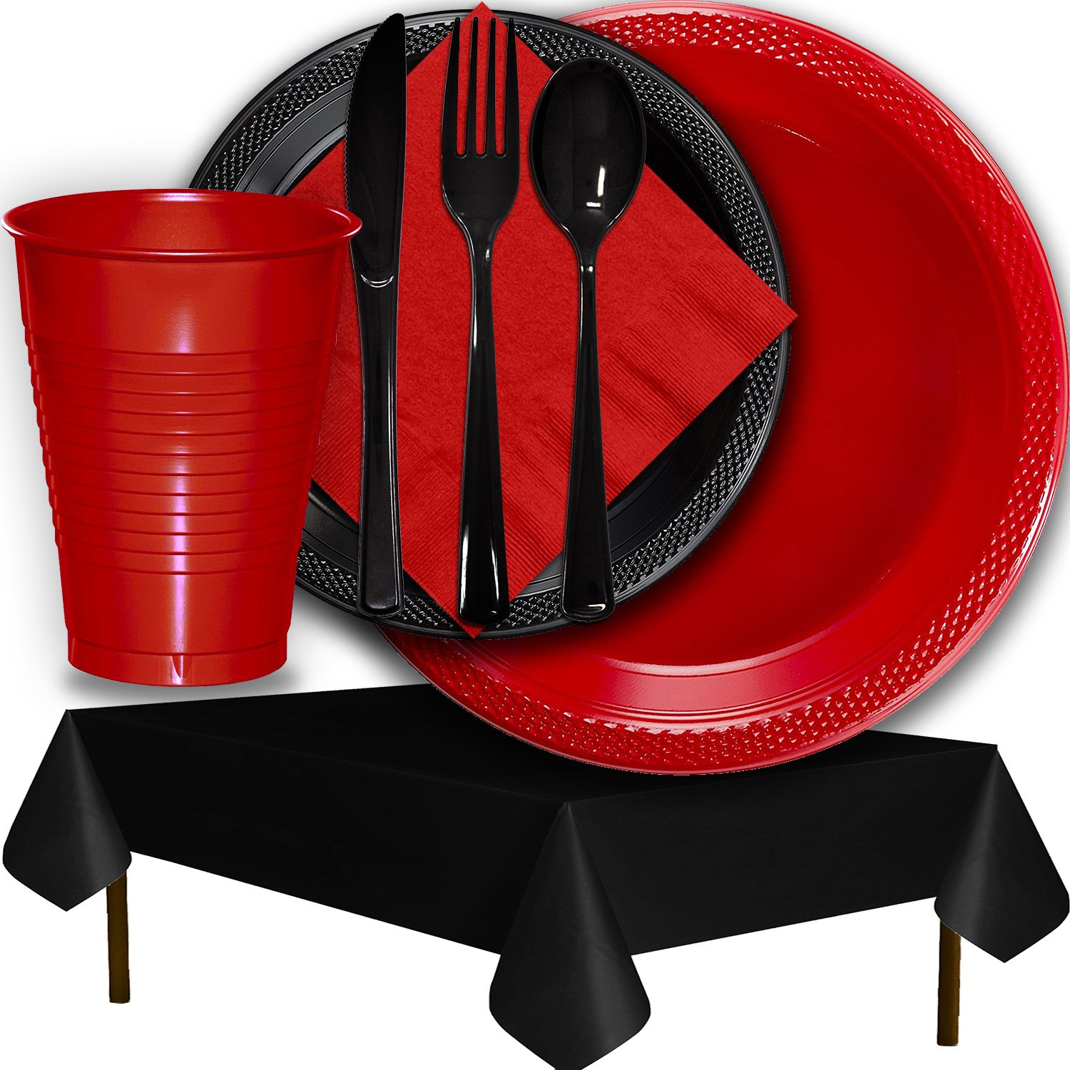 Plastic Party Supplies for 50 Guests - Red and Black - Dinner Plates, Dessert Plates, Cups, Lunch Napkins, Cutlery, and Tablecloths - Premium Quality Tableware Set