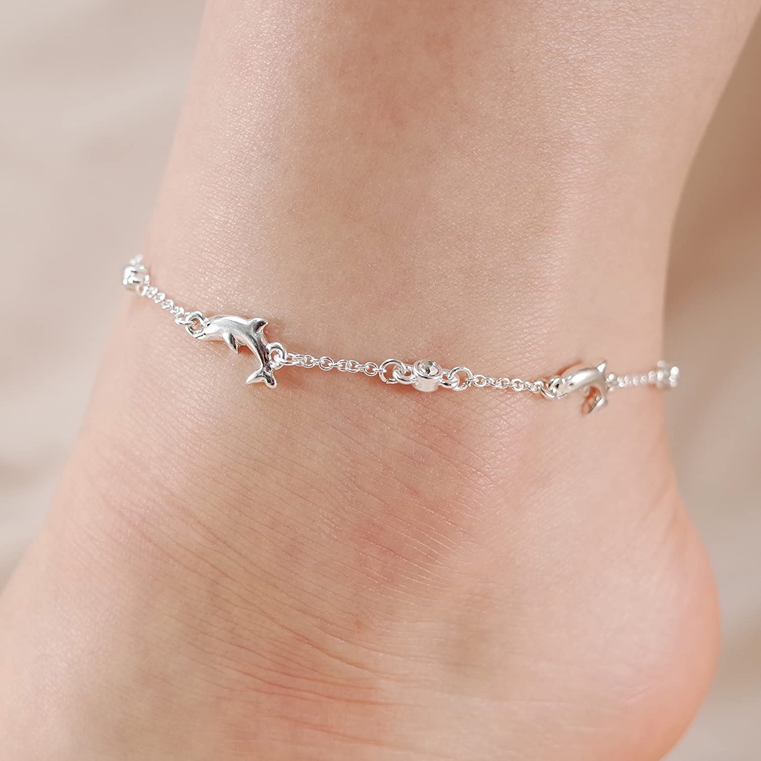 Jucicle Dolphin Charm Crystal Rhinestone Link Anklet