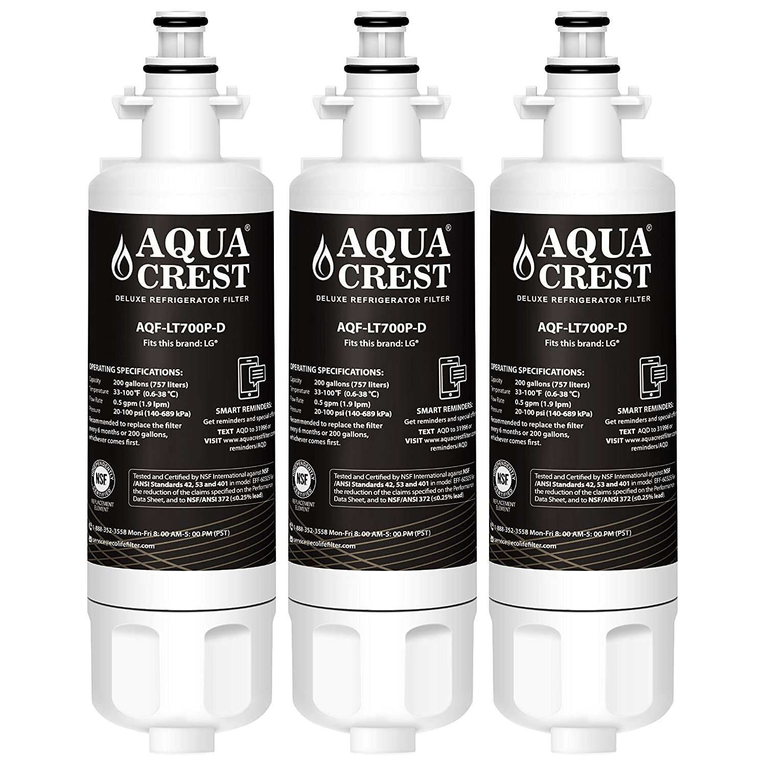AQUACREST NSF 401, 53&42 ADQ36006101 Refrigerator Water Filter, Compatible with LG LT700P, Kenmore 9690, 46-9690, ADQ36006102 (Pack of 3)