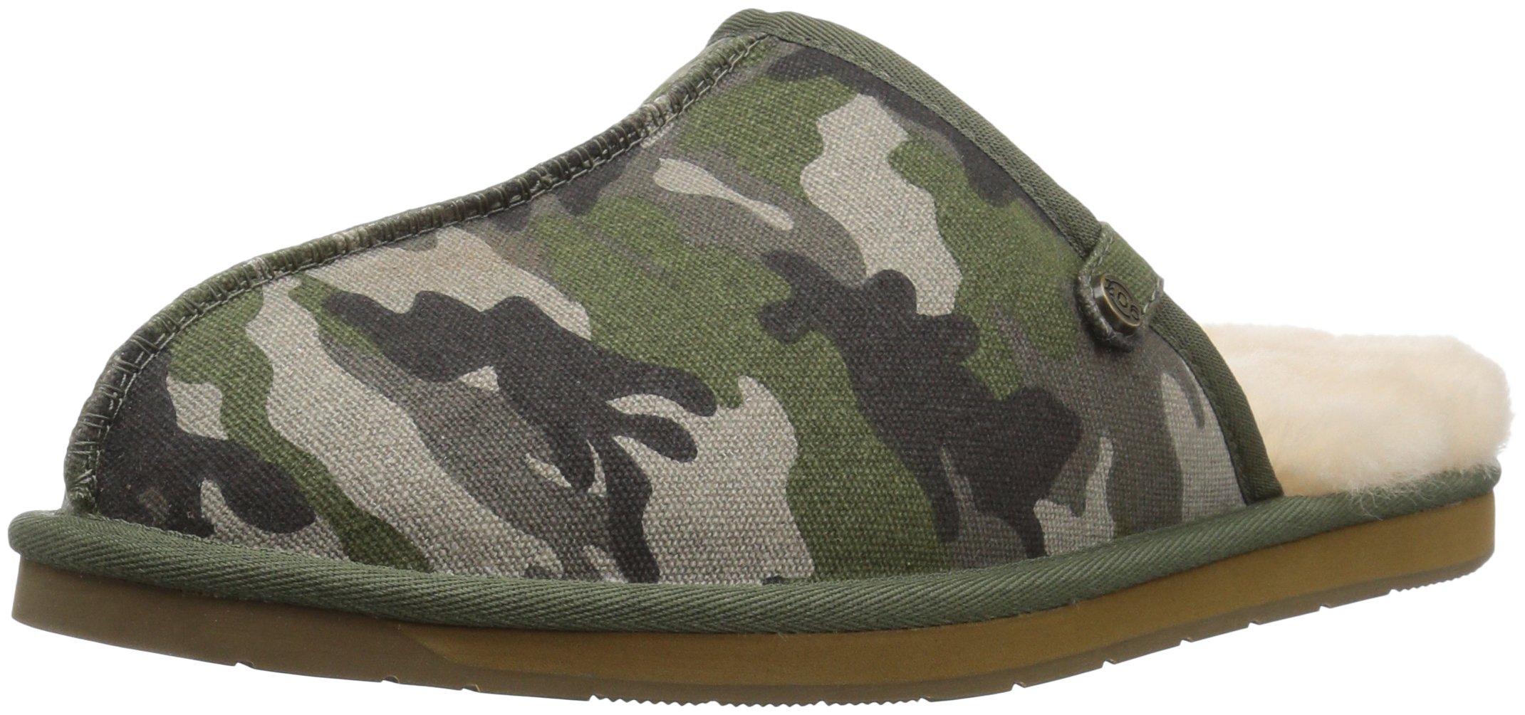 206 Collective Men's Union Shearling Slide Slipper Shoe, Green camo, 10 D US