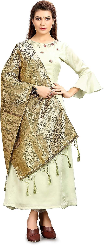 Elina fashion Womens Zari Work Indian Pakistani Banarasi Art Silk Woven Only Dupatta for Dress Material /& Salwar Suit