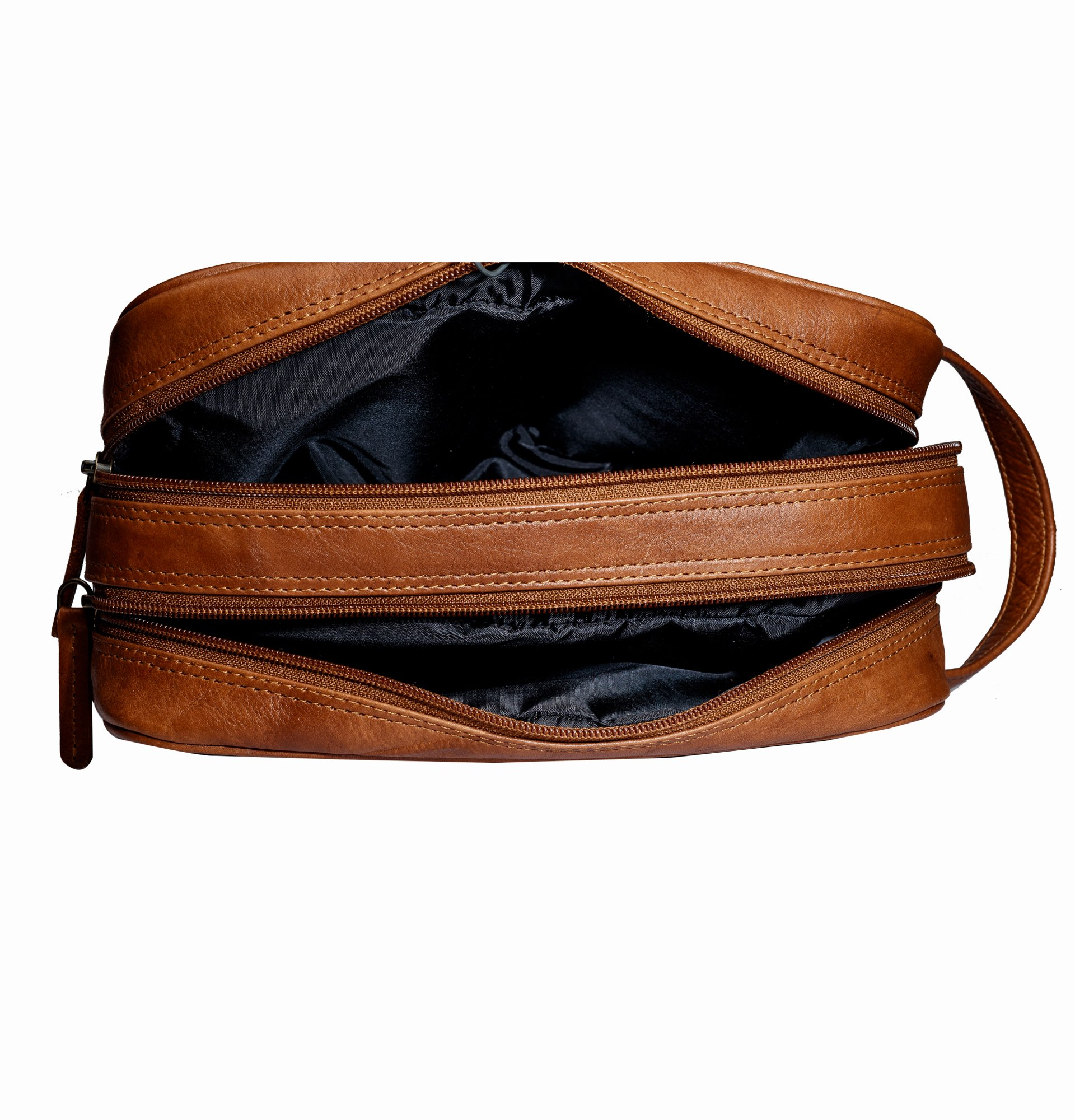Finelaer Men Brown Leather Toiletry Travel Dopp Bag by FINELAER (Image #6)