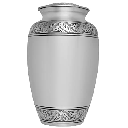 Silver Funeral Urn by Liliane Memorials – Cremation Urn for Human Ashes – Hand Made in Brass – Suitable for Cemetery Burial or Niche – Large Size fits remains of Adults up to 200 lbs – Lauriers Silver