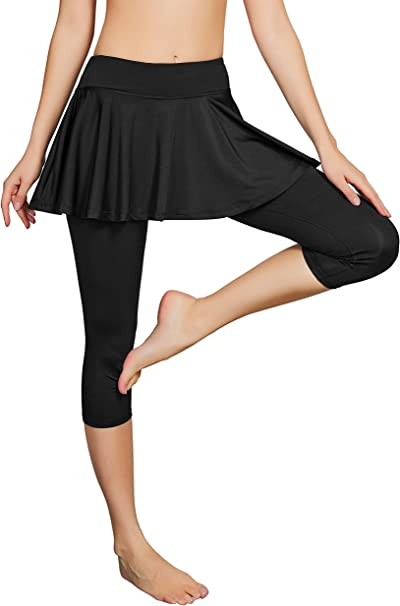 Cityoung Womens Capris Yoga Pants Tights Athletic Skorts Running Skirted Leggings Sun Protection