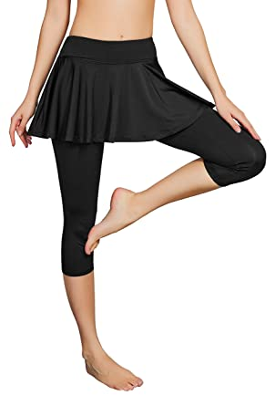 93c5b95661 Cityoung Women's Yoga Capris Tennis Skirt with Leggings Size X-Small  (Black-a