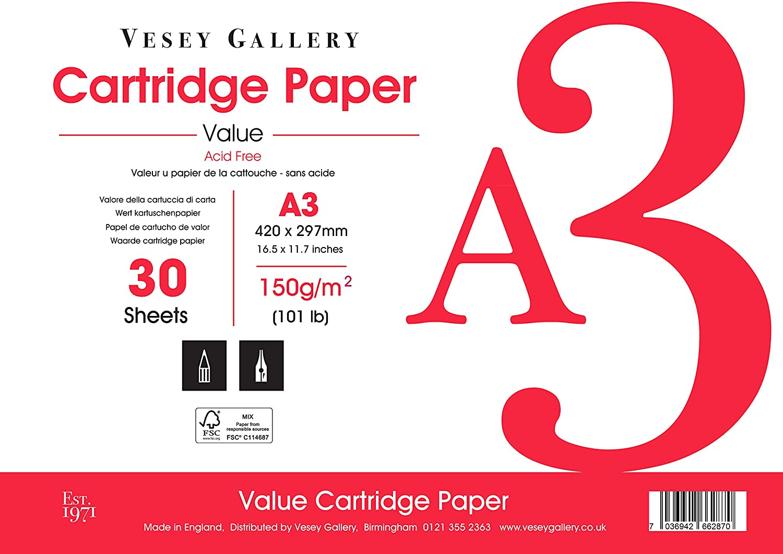 A3 Artist Sketch Pad. 150gsm Acid Free Paper. Matt, Soft Weiß Finish. Made in UK from Wood Free B079MD28B1    Good Design