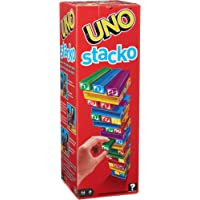 UNO StackoGame for Kids and Family with 45 Colored Stacking Blocks, Loading Tray and Instructions, Makes a Great Gift for 7 Year Olds and Up