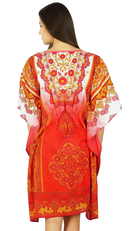 Bimba Womens Short Cotton Kaftan Printed Caftan Beachwear Coverup Sleep Wear Comfort Clothing Red