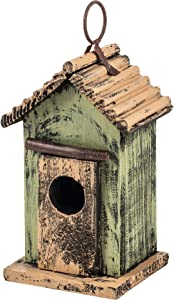 """Carson 7"""" Green Hanging Rustic Style Birdhouse"""