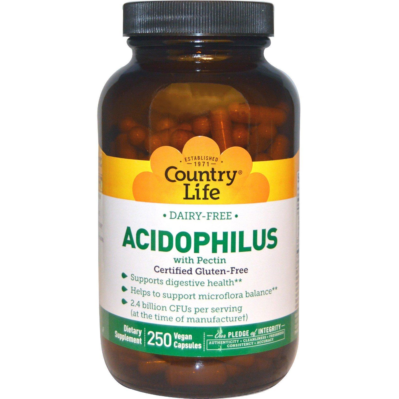 Country Life, Acidophilus with Pectin, 250 Veggie Caps