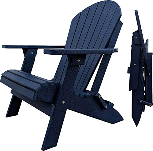 DURAWEATHER POLY Classic King Size Folding Adirondack Chair Navy