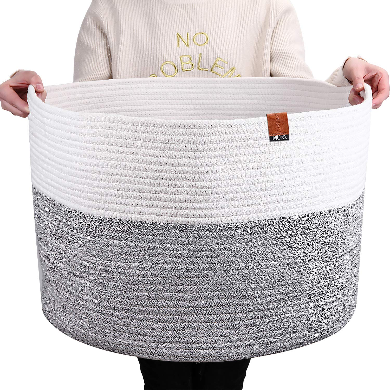 21.7 X 21.7 X 13.8 MORZ Cotton Rope Basket Extra Large Blanket Basket Living Room-Laundry Hamper Bin Invisible Handle -Woven Storage Basket for Baby/&Dog Toy Bin Organizer-Kids Toy Storage Basket