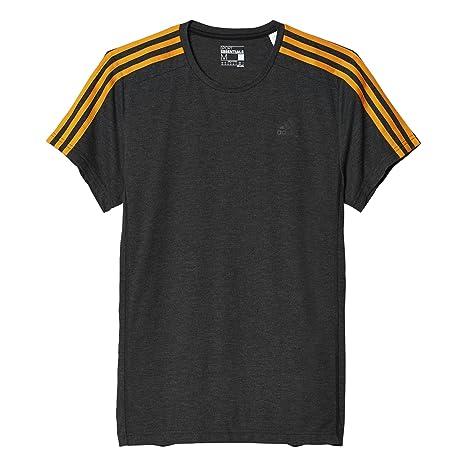 Adidas Essentials 3S Camiseta-Hombre, Negro/Naranja (Bkvime/Eqtora),