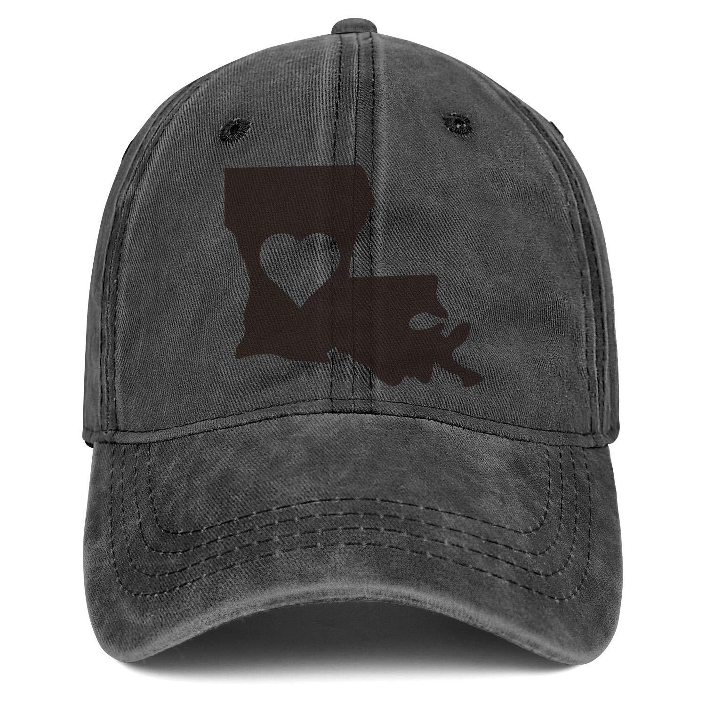 Louisiana Heart State Silhouette Denim Snapback Hat Men//Women Fashion Cowboy Baseball Hats