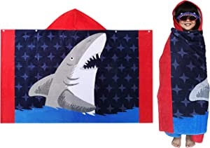 Athaelay 100% Soft Cotton Beach Towel with Hood for Boys Kids 3 to 8 Years Hooded Bath Towel Wrap, Navy Blue Jaws