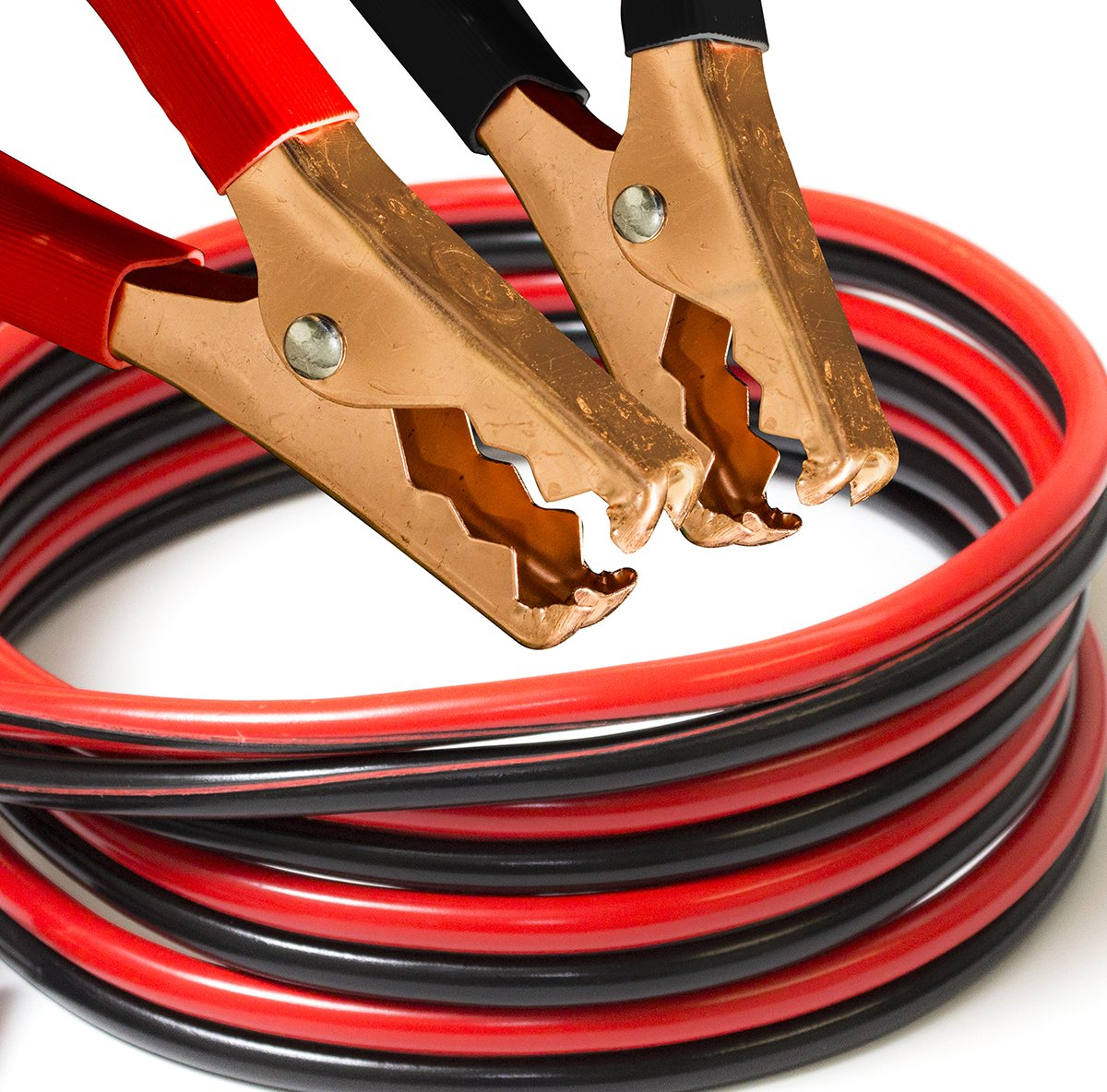 OxGord Jumper Cable 4 Gauge x 25 Feet Commercial Grade 500 AMP Non Tangle Battery Booster Starter with Carry Case CABC-04-25