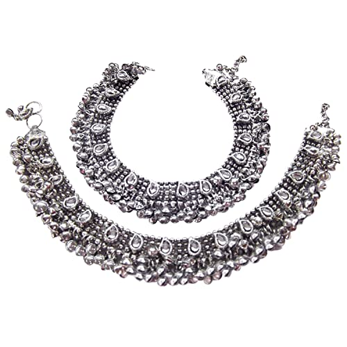 9Blings Antique Style Cz Silver Plated Bell Bridal Anklet For Women Anklets at amazon
