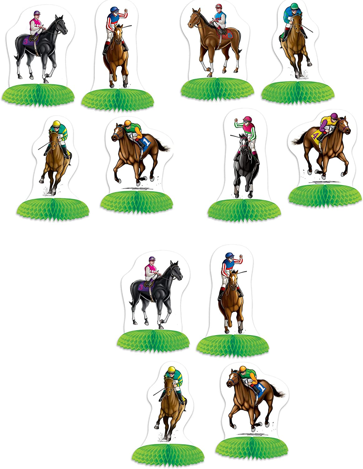 "Beistle Horse Racing Mini Centerpieces 12 Piece Derby Day Decorations Sports Party Supplies, 4.75"" - 5.5"", Green/White/Brown/Green/Yellow/Red/Blue"