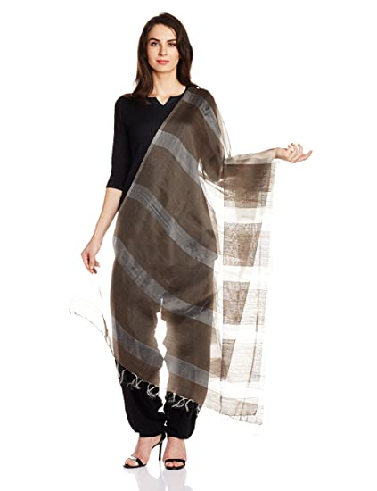Grey Silk Wool Handloom Dupatta by Jaypore Dupattas & Stoles at amazon