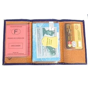 Lilosac® - Porte papier de voiture 3 volets en cuir souple - carte grise, permis, carte d'identité, cartes, très complet, cuir souple - pour homme ou femme - collection J