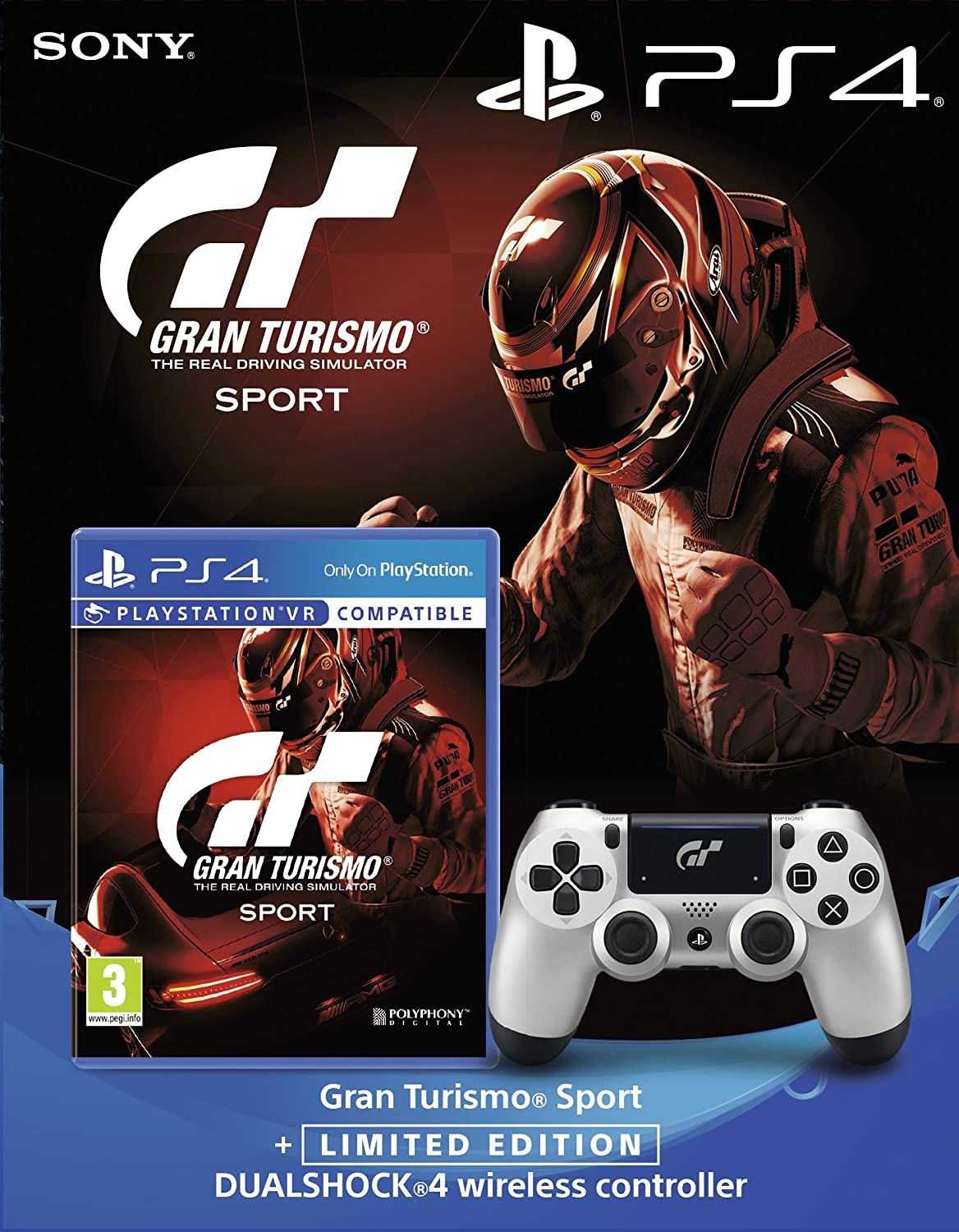 6ed45a06151 Sony Gran Turismo Sport + PlayStation DualShock 4 Controller GT Sport  Limited Edition Bundle  Amazon.co.uk  PC   Video Games