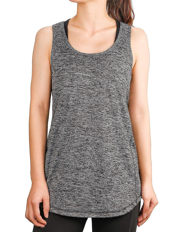 Dafunna Canotta Donna Yoga Pilates Tank Tops Racerback T-Shirt Senza Maniche Stretch Vest Gilet per Sportivo Fitness Workout Gym Grigio, XXL