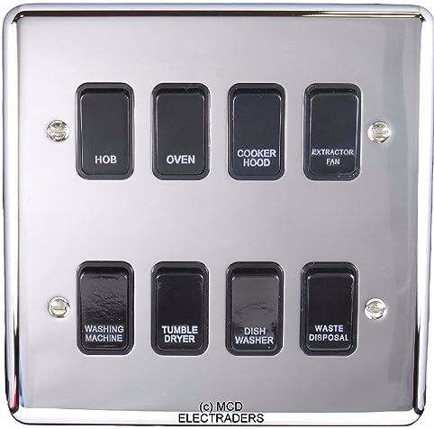 Amazon.com: Polished Chrome Customised Kitchen Grid Switch Panel ...