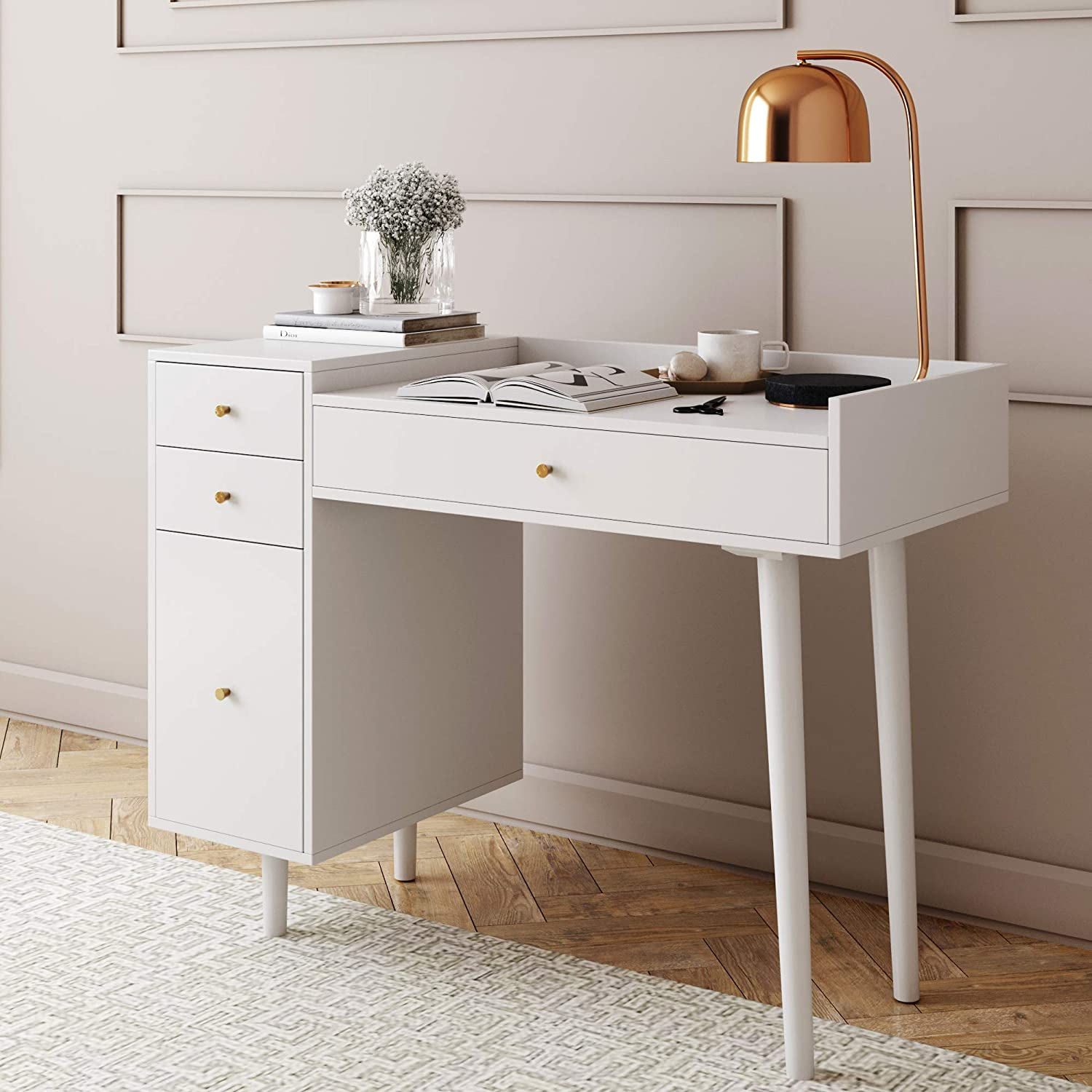 Nathan James Daisy Vanity Dressing Table or Makeup Desk with 4-Drawers and Brass Accent Knobs, White/Gold