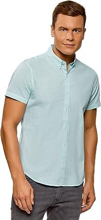 oodji Ultra Hombre Camisa a Cuadros Manga Corta