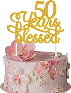 MAGBEA 50 Years Blessed Cake Topper - Glitter Happy 50th Birthday Wedding Anniversary Party Supplies 50s Birthday Decor - Marriage Anniversary Party Decoration Supplies