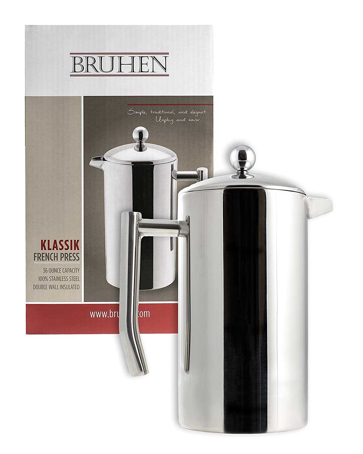 large stainless steel french press coffee maker double wall tea or coffee pres ebay. Black Bedroom Furniture Sets. Home Design Ideas