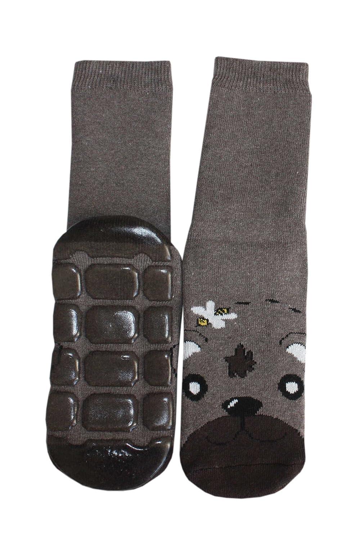 Weri Spezials Chaussettes pour Enfants avec ABS, Couleur: Marron, Ours Ours