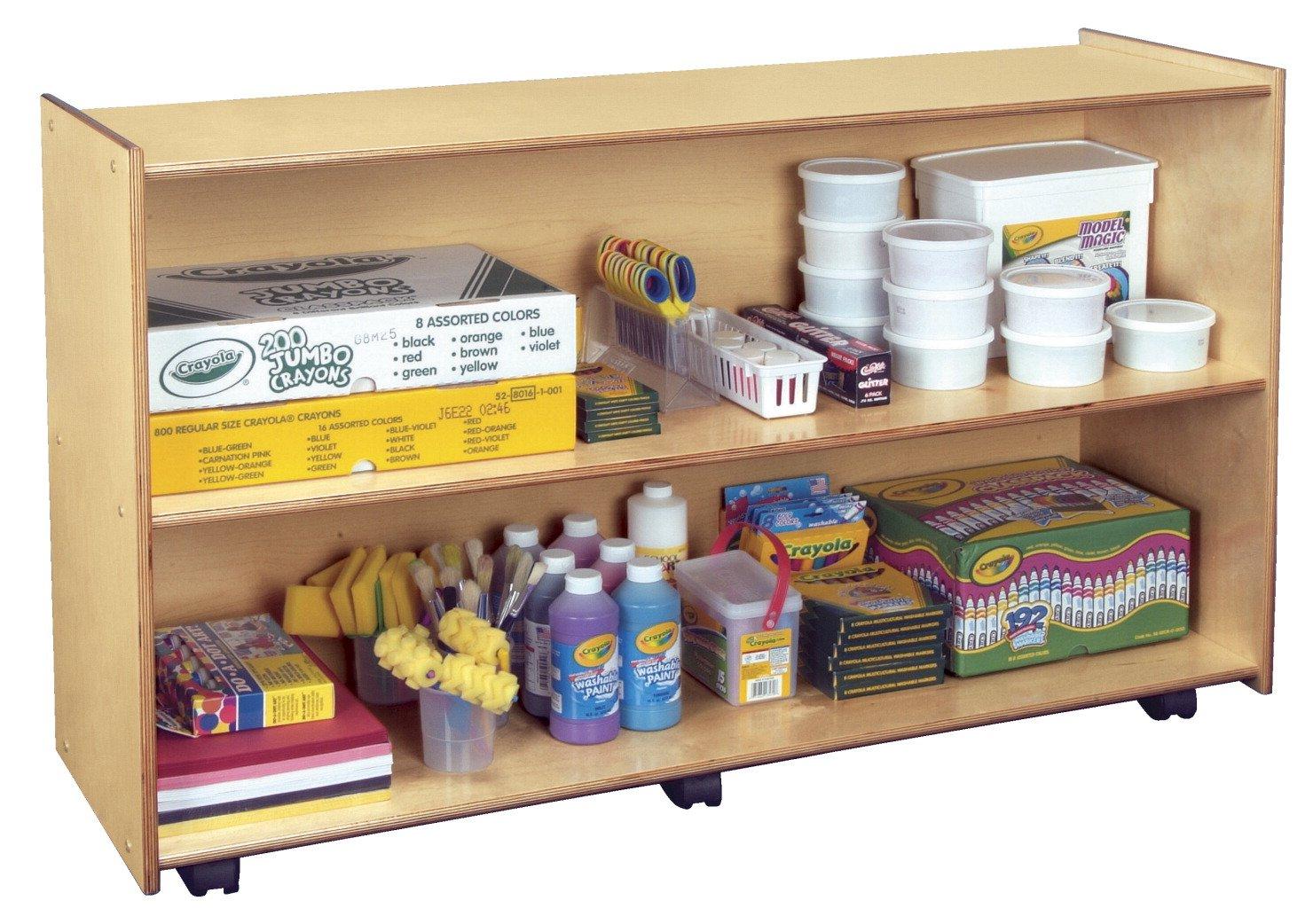 Childcraft 1301522 Mobile Open Shelving Unit, Birch Veneer Panel, 4-Coat UV Acrylic, 30'' x 48'' x 14-1/2'', Natural Wood Tone