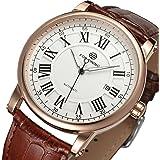 GuTe Dapper orologio da polso meccanico automatico da uomo, in oro rosa con quadrante bianco e cinturino in pelle