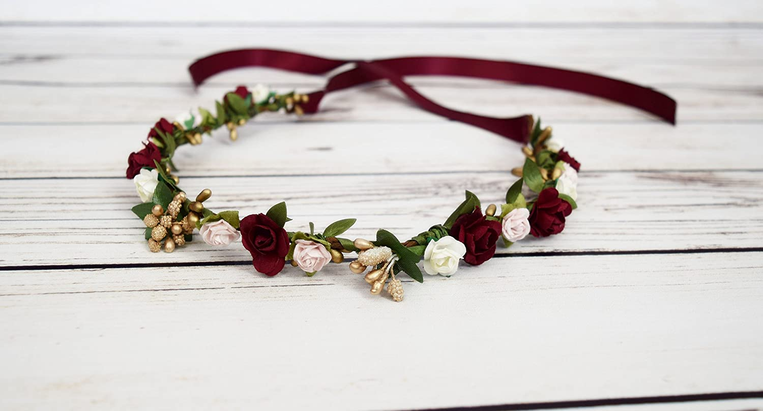 Amazon Handcrafted Burgundy Wine Pink Ivory Gold Flower Crown