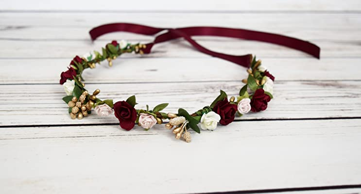 Handcrafted Burgundy Wine Pink Ivory Gold Flower Crown - Adult Flower Crown - Bridesmaid Flower Halo - Renaissance Flower Crown - Burgundy and Gold Wedding Accessory