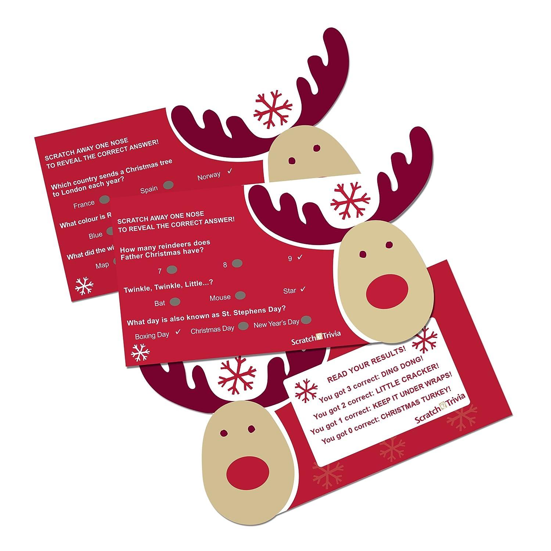 Neviti Rocking Rudolf-Scratch Trivia-10 Pack, Wood Multi-Colour, 9 x 0.1 x 7.3 cm 595494