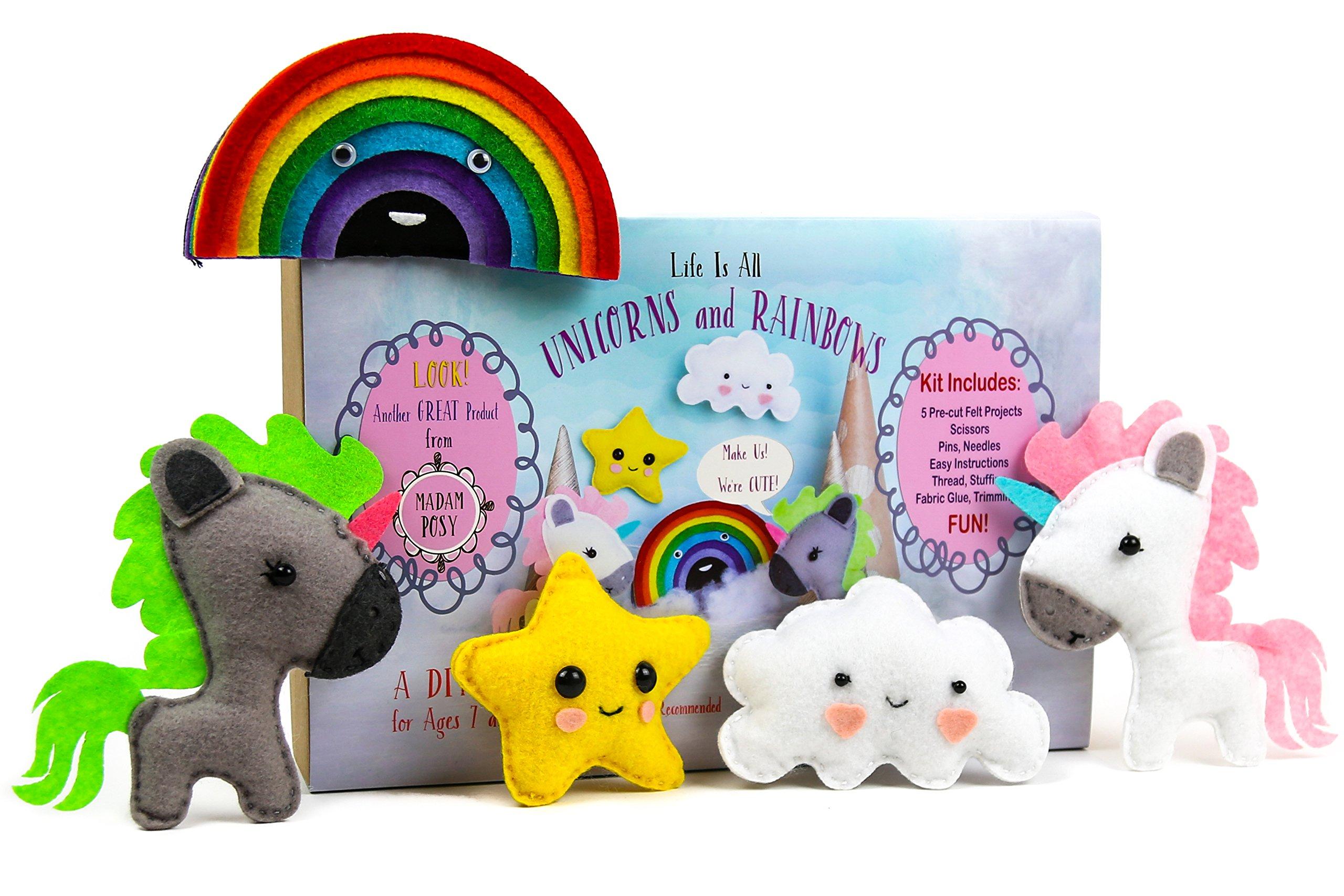 Madam Posy Design Rainbows Unicorns Stuffed Animal Sewing Crafts Kit Girls: Unicorn DIY Stuffed Animal Sewing Craft Kit kids Age 7-12