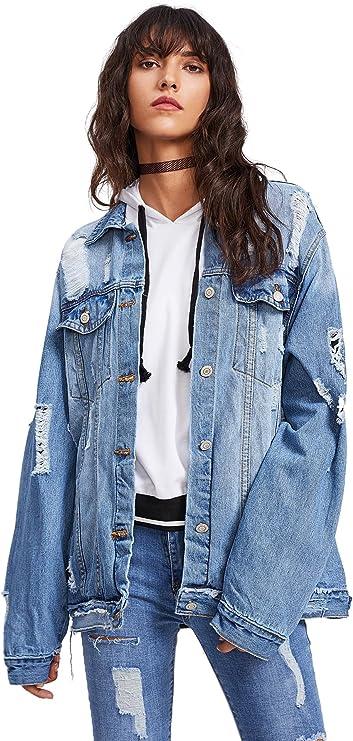 Women's Oversized denim jacket | Street Style Ripped long denim jacket for Fall or Winter | Casual denim Coat