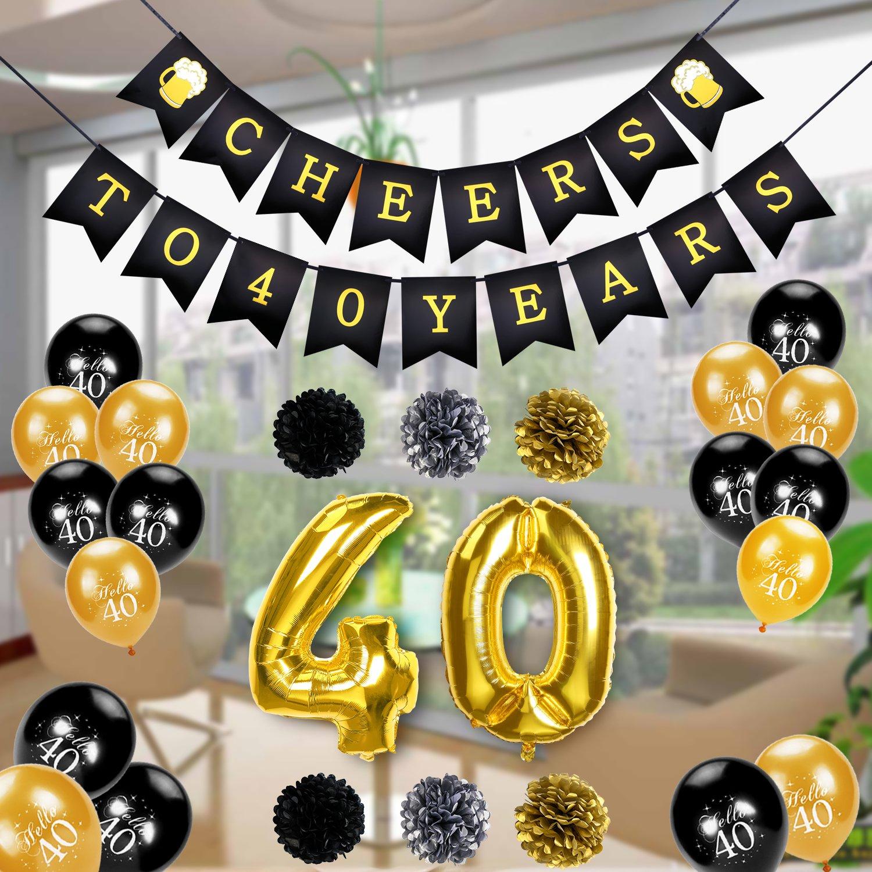 Konsait Pancartas de Banderines Cheers to 40 Years cumpleaños Globo Grande de Foil 40 Años, 6 Pom Poms Bola de la Flor, 20 Dorados y Negro Globos De ...