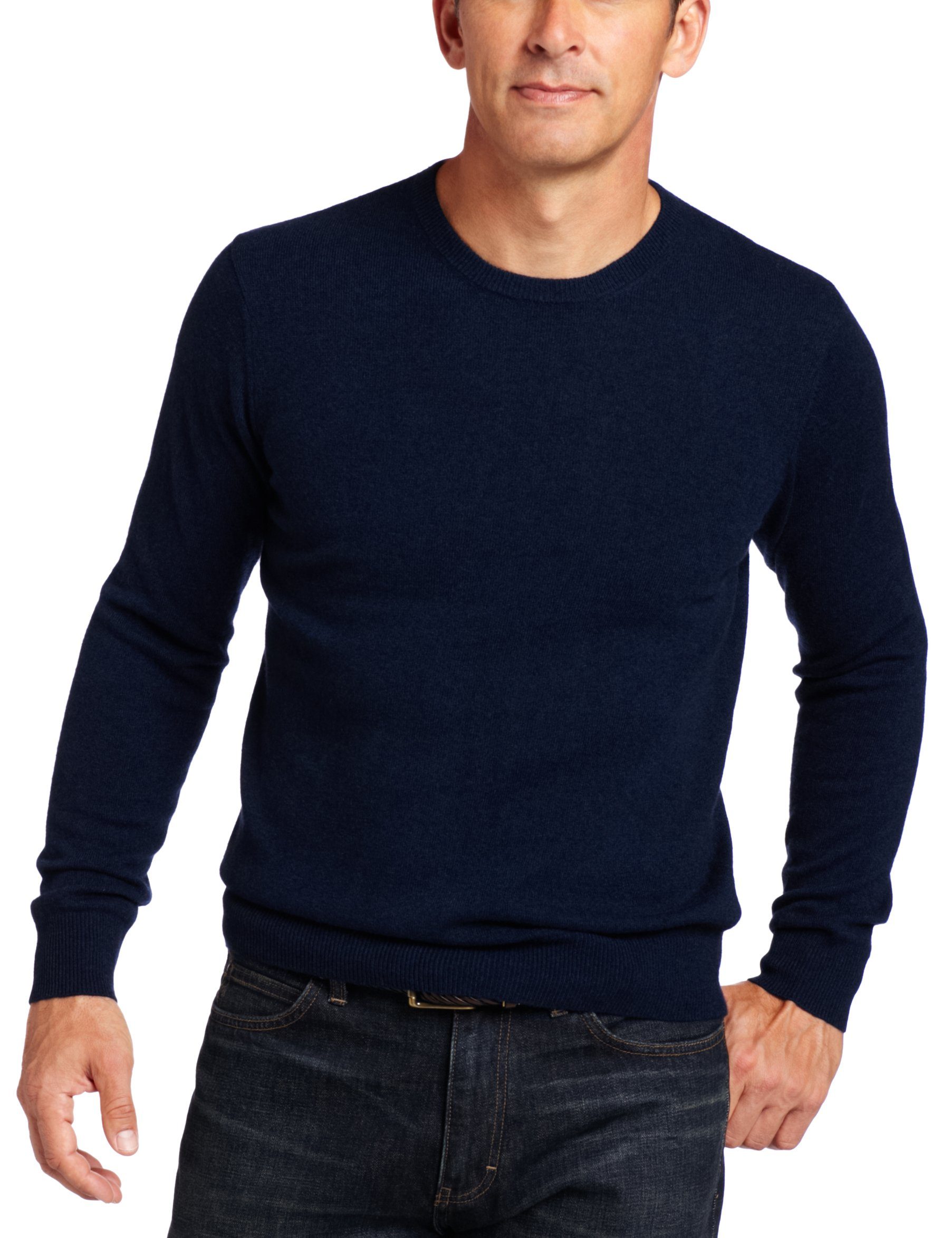 Williams Cashmere Men's 100% Cashmere  Long Sleeve Crew Neck Sweater, Navy, X-Large