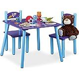 Relaxdays Kindersitzgruppe FUNNY Weltraum-Motiv, 1 Tisch, 2 Stühle, Holz, Kindertischgruppe für Jungen, blau / lila
