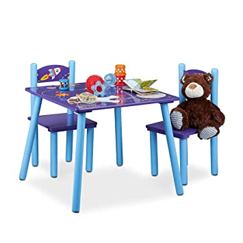 Pour Et Chaises En Chambre Ensemble Bois Relaxdays Table D'enfants D9eHIE2WY
