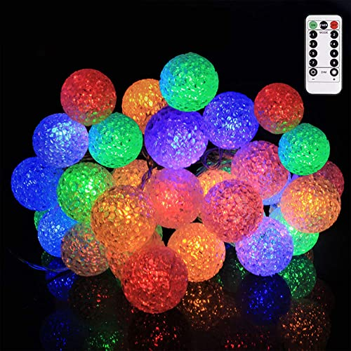 Ball String Lights LED Mini Globe String Light, LED Fairy Lights with Remote, 8 Lighting Modes and Timer Function for Bedroom, Patio, Wedding, Christmas Tree, 30LED,Color,16.4feet 5meters
