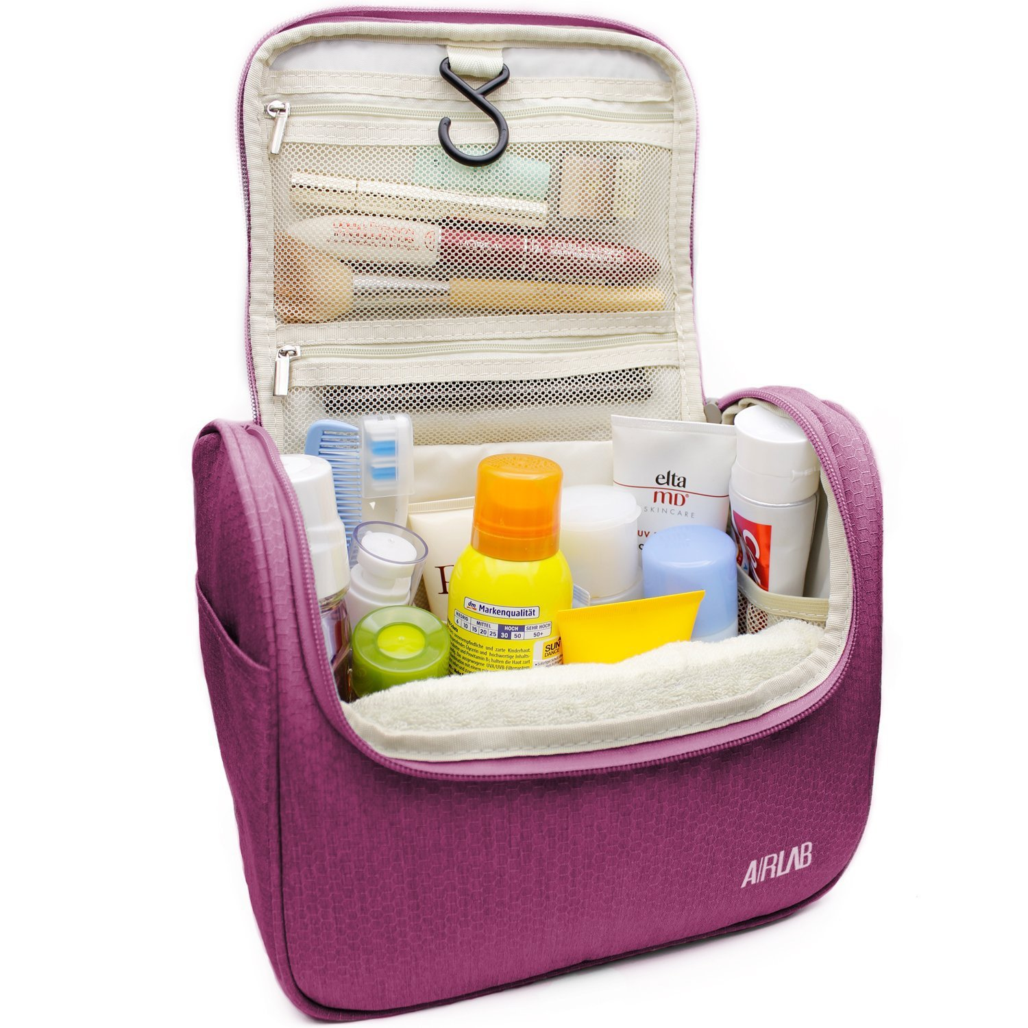 Hanging Toiletry Bag, Airlab Large Cosmetic Bag with Handle and Hook, Travel Toiletry Organizer for Men and Women, Size: 9.45 x 7.65 x 5 inch, Hot Pink