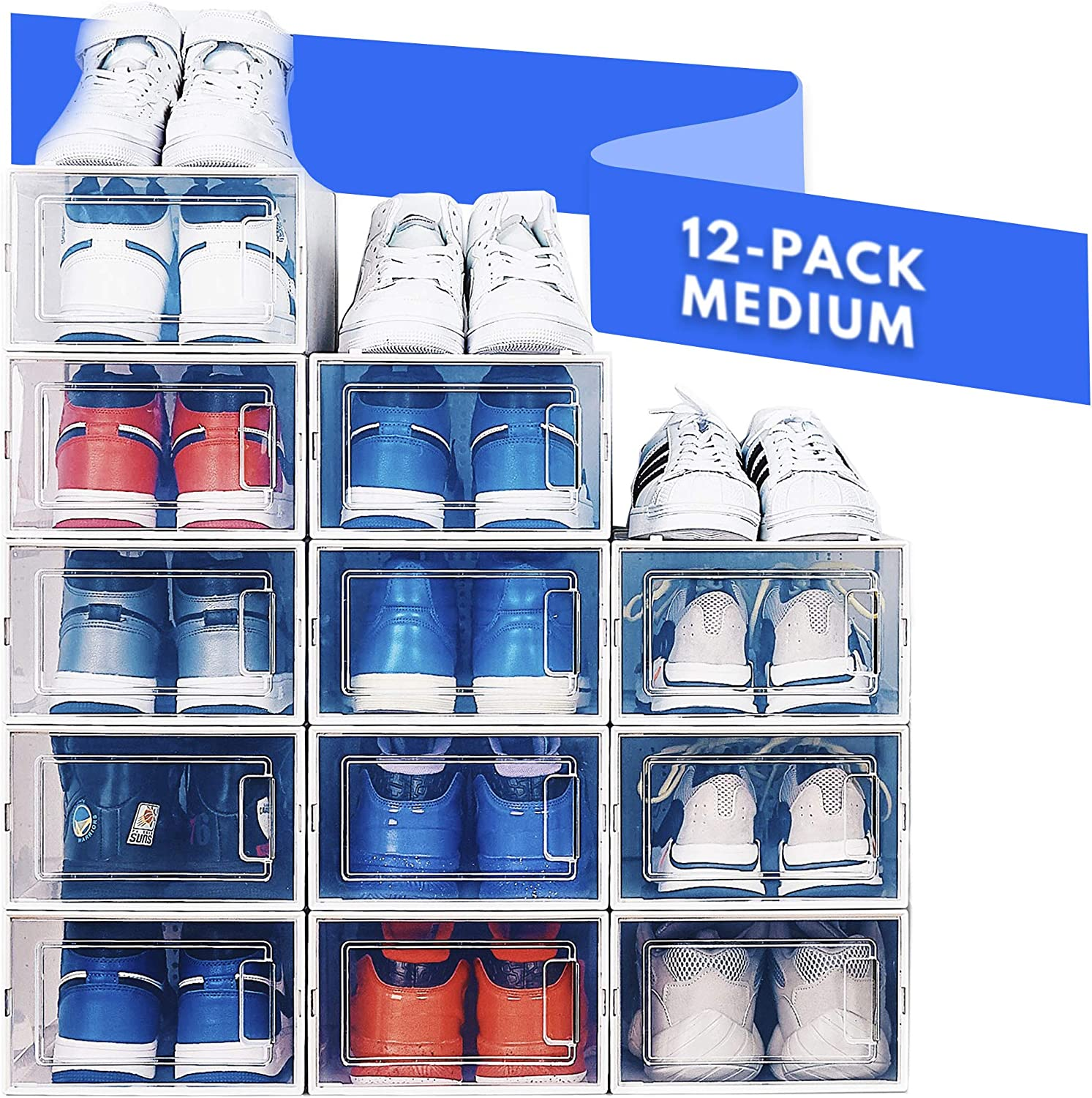 NEATLY Shoe Organizer for Closet - Stackable Shoe Storage, Shoe Rack for Entryway - Clear Plastic Shoe Boxes, Sneaker Shoe Container, Shoe Rack for Closet, Under Bed Shoe Storage (12-pack)