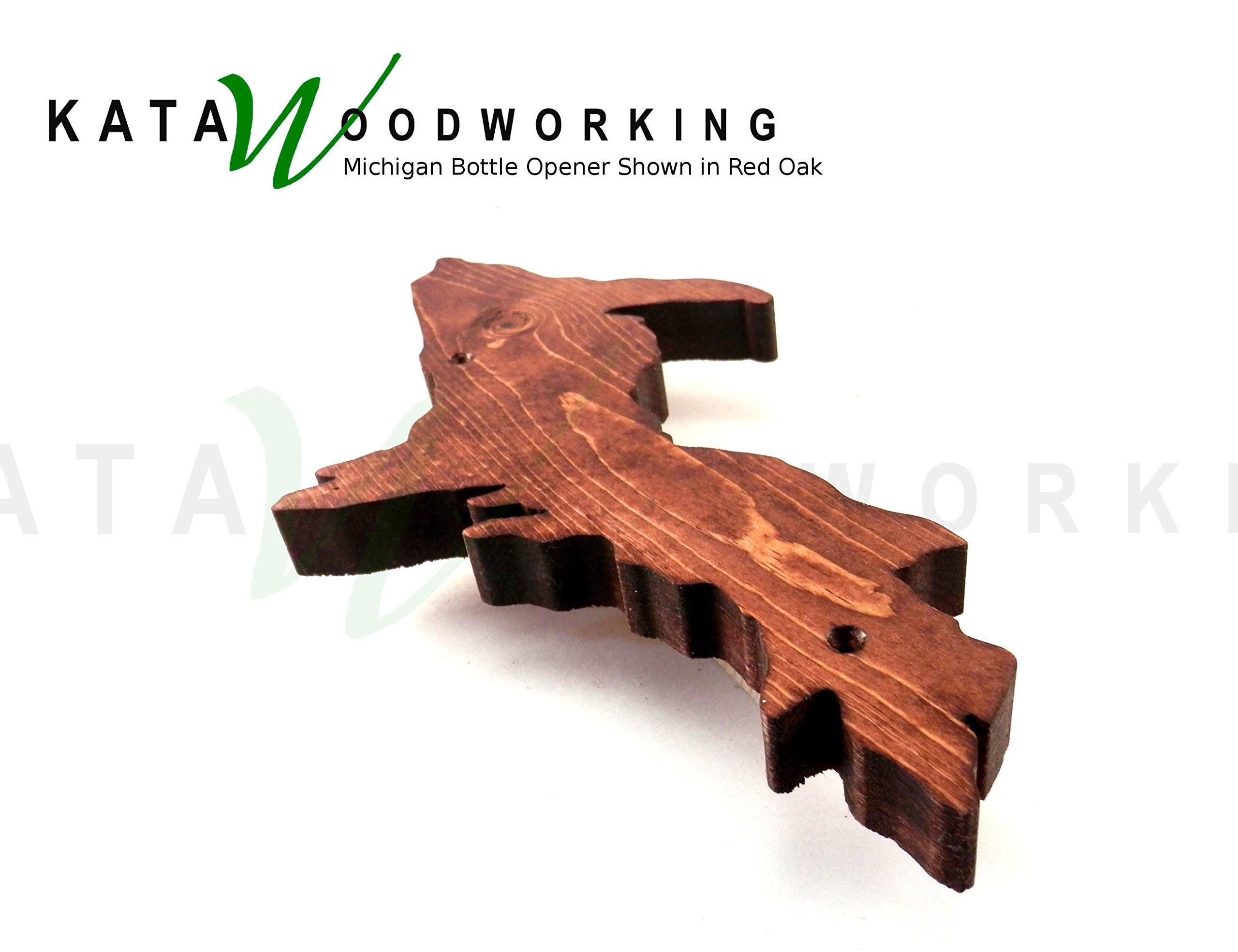 Michigan Upper & Lower Peninsula Shaped Wood Cut-out Bottle Opener - Wall Mount - Handmade by Kata Woodworking (Image #3)