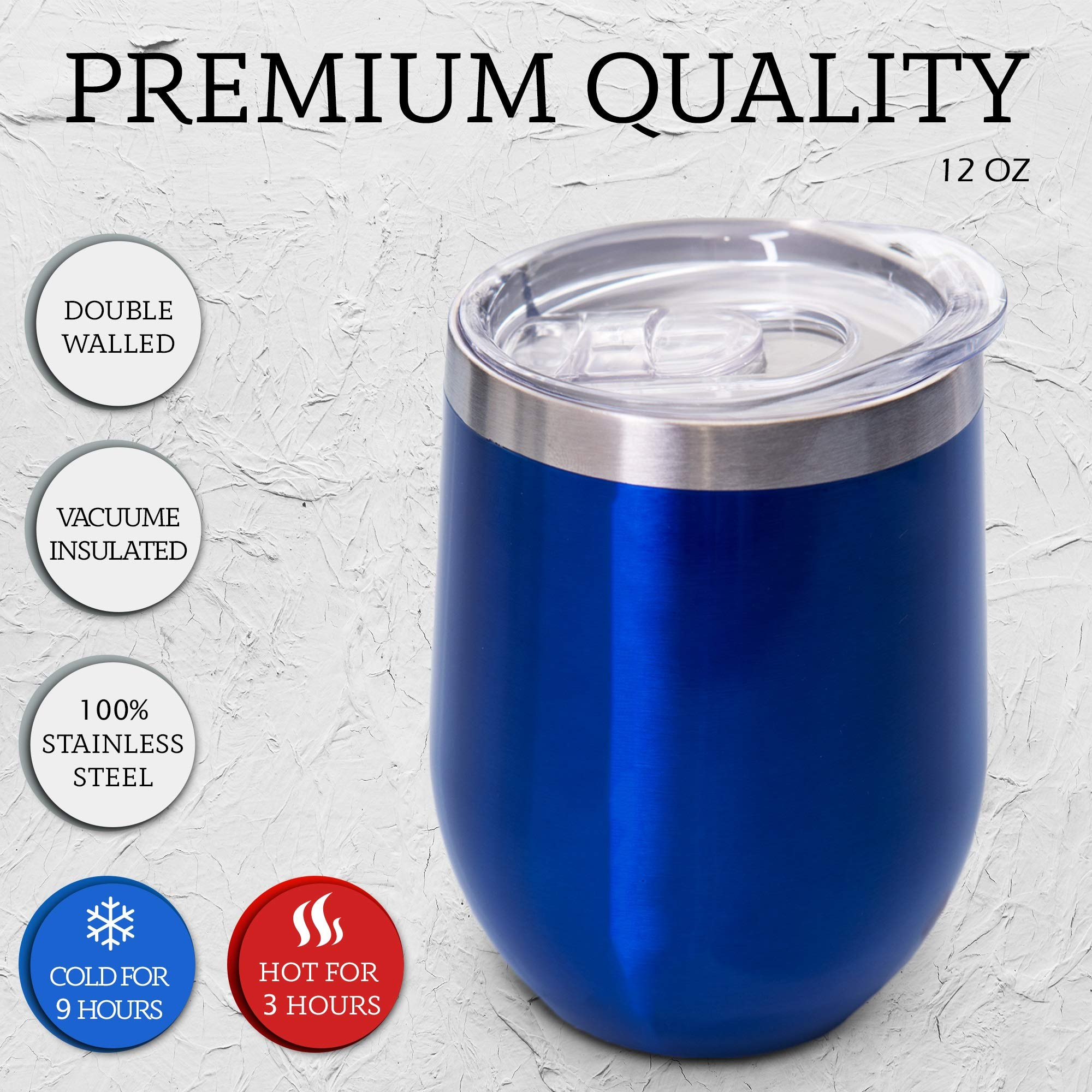 12 oz Wine Tumbler Stemless Glass with Lid, Set of 2 Stainless Steel Double-Insulated for Wine, Coffee, Drinks, Champagne, Cocktails, Blue, Comes with Bonus: 2 Straws, Brush & 2 Extra Lid Sealers …