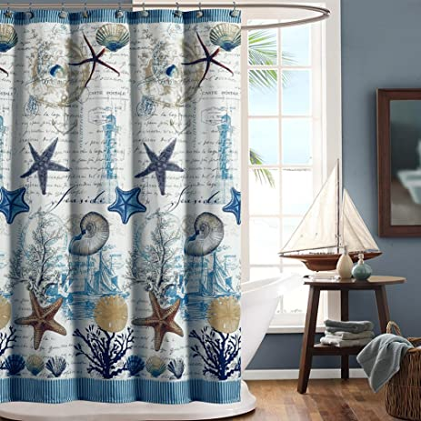 DS BATH Under The Sea Blue Seashell Polyester Fabric Shower Curtain,Mildew  Resistant Shower Curtains