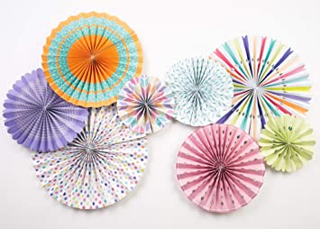 PapaKit Origami Wall Decoration Set Birthday Party Baby Shower Wedding Events Decor 8 Assorted Round Paper Fans Creative Art Design Pattern Lustrous Pink Coral with Metallic Rose Gold